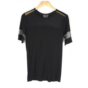 LA Hearts Rayon & Mesh Black Short Sleeve Tee